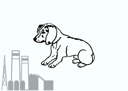 silly: Vector illustration of a puppy. A small dog.