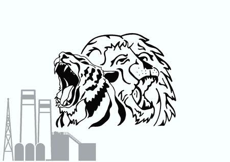 Vector illustration of the evil head, ferocious, aggressive lion. Predatory, dangerous beast. Angry lion.