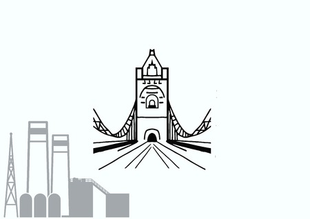City silhouette icon. Vector illustration. Bridge over river. City landscape.