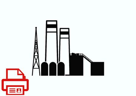 heavy industry: Factory silhouette icon. Vector Illustration. Industrial landscape. Heavy industry logo.