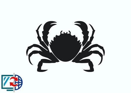 Vector illustration of a crab. graphics, seafood. Marine reptile.
