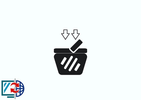 eshop: Shopping trolley, cart icon, On line sale icon Illustration
