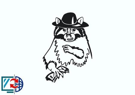 Vector illustration of a raccoon.