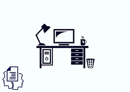 firewall: Computer on the table icon. Workplace programmer icon. Illustration