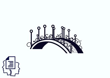 City silhouette icon. Vector illustration. bridge. Bridge over river. City landscape.