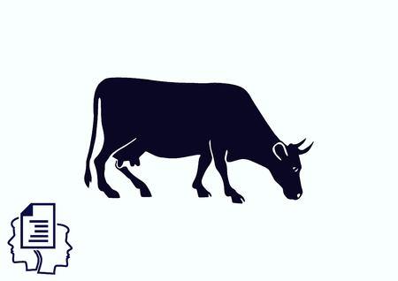 aries: icono de la vaca. Ilustración del vector. Mascotas.