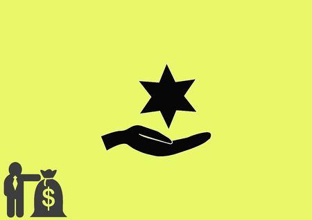 jewry: Star of David Jewish synagogue icon Illustration