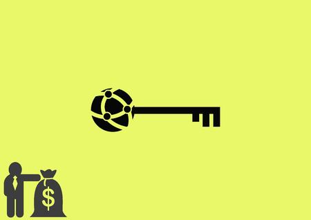 metal doors: Pictograph of key icon Illustration