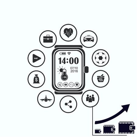 globe logo: Clock icon Illustration