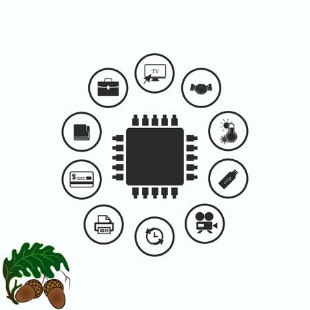 globe logo: Circuit board, technology icon, vector illustration. Flat design style