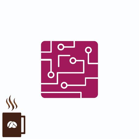 electronic circuit: Circuit board, technology icon, vector illustration. Flat design style