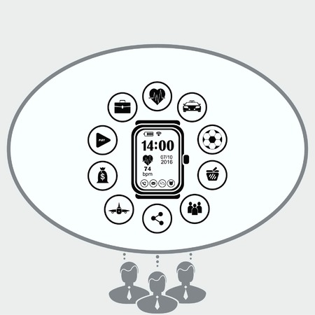 electronic circuit: Clock icon Illustration