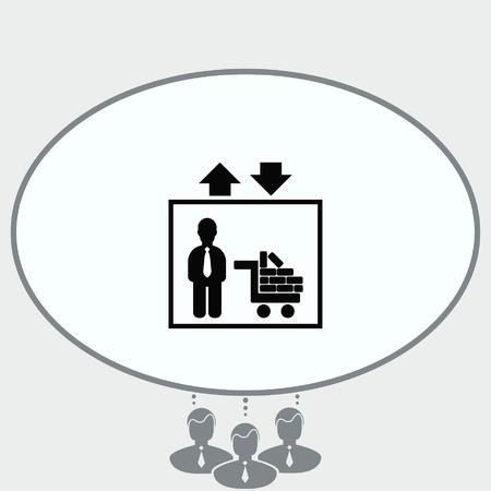 escalate: Elevator icon, Lift or elevator symbol, vector illustration.