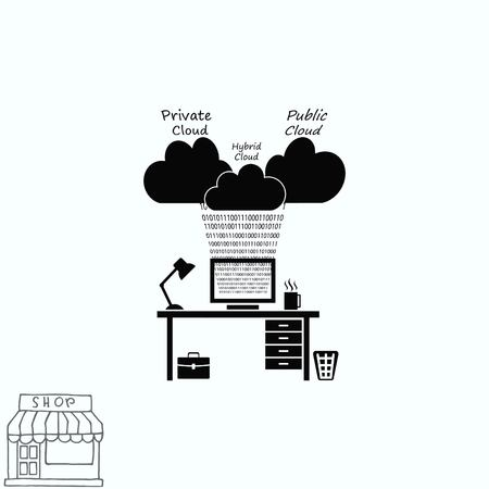 art processing: Cloud storage  icon  vector illustration . Technology icon