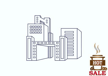 condo: City silhouette icon. Vector Illustration. logo City landscape.