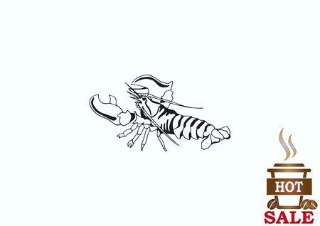 crustacea: Lobster, cancer icon. Vector illustration.   graphics, seafood. Marine reptile. Illustration