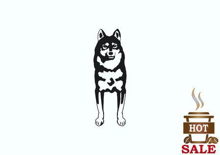 Vector illustration of a dog. Aggressive purebred dog. Illustration