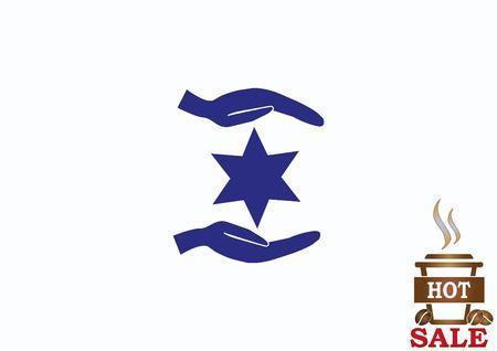Star of David Jewish synagogue icon Illustration