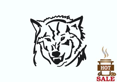 pure breed: Wolf icon, vector illustration. Illustration