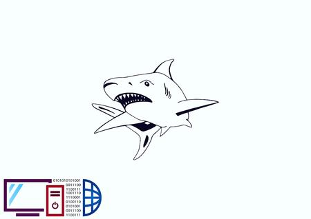 great danger: Shark icon. Vector illustration