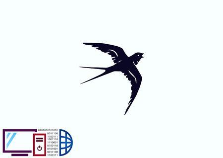 鳥のアイコン。迅速なベクトル図を飲み込みます。