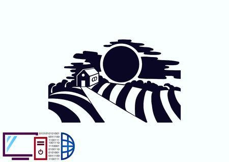 rye: Retro landscapes. Vector illustration, Agriculture field.