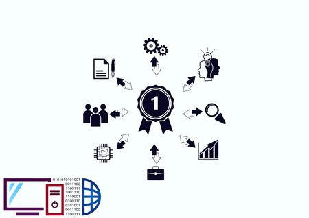 Bedrijfsstrategie pictogram, business concept pictogram, vector illustratie. Stock Illustratie