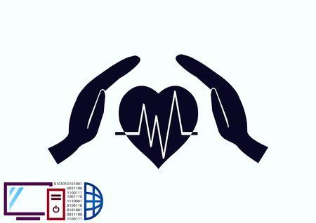 Human heart,  Cardiology resuscitation  icon