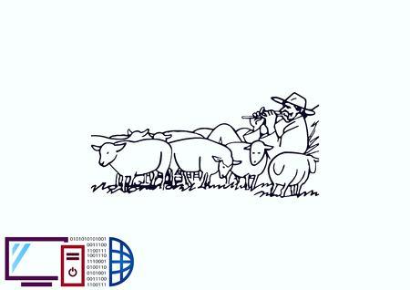 Vectorillustratie van een schaap. Herder met kudde schapen. Een boer die schapen hoedt. landbouwer die schapen voedt. Boer speelt de fluit. Shepherd speelt een pijp.