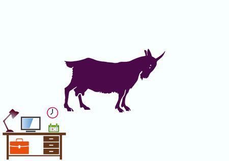 Vector illustration of a goat. Mountain argali.
