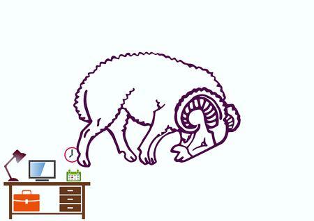 Vector illustration of a sheep. Flock of sheep. Ilustração