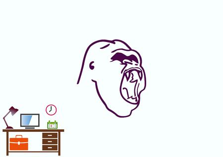 Monkey  icon.  Aggressive,  Angry gorilla head. Vector  illustration.