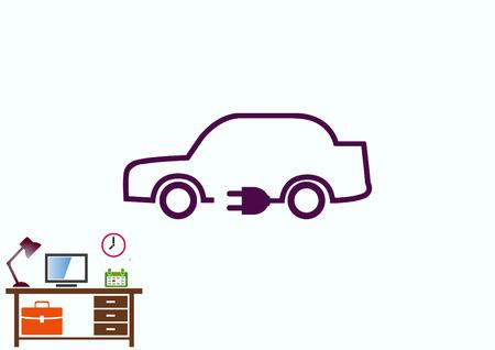 power cables: refueling electric car charging battery hybrids icon