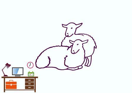 Vector illustration of a sheep. Flock of sheep. sheep logo. Ilustração