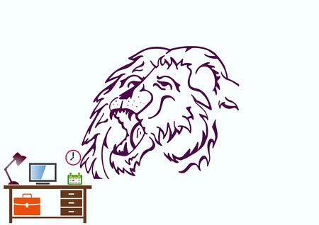 Vector illustration of the evil head, ferocious, aggressive lion. Predatory, dangerous beast. Angry lion.