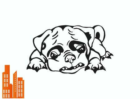 Vector illustration of a puppy. A small dog.