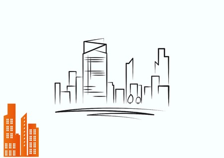 icon: City silhouette icon. Vector Illustration.