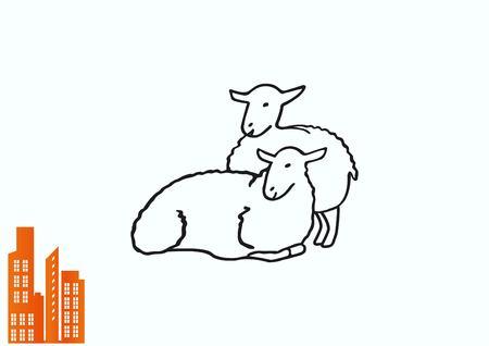 Vector illustration of a sheep. Flock of sheep. Illustration