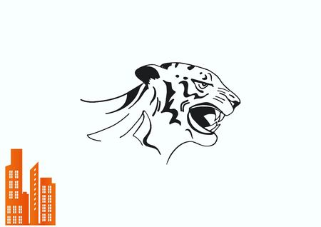 Vector illustration of an evil, savage, aggressive tiger. Predatory, dangerous beast. Angry Tiger.