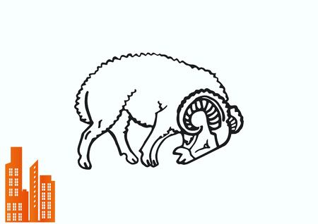 Vector illustration of a sheep. Flock of sheep. sheep logo. Illustration