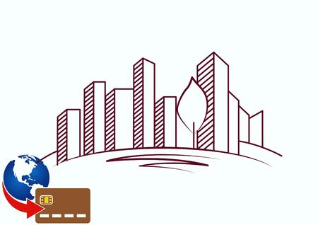 real estate house: City silhouette icon. Vector Illustration.