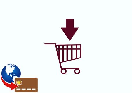 Shopping trolley, cart icon, On line sale icon Illustration
