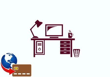 Computer on the table icon. Workplace programmer icon. Illustration