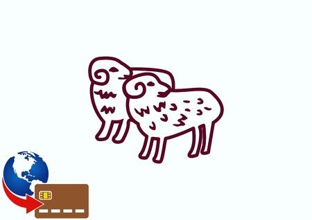 Vector illustration of a sheep. Flock of sheep. sheep  .