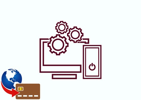 Computer, laptop icon Illustration