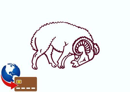 Vector illustration of a sheep. Flock of sheep. sheep