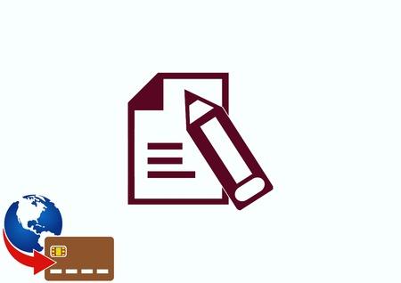 yellow notepad: Document determining identity icon. Illustration