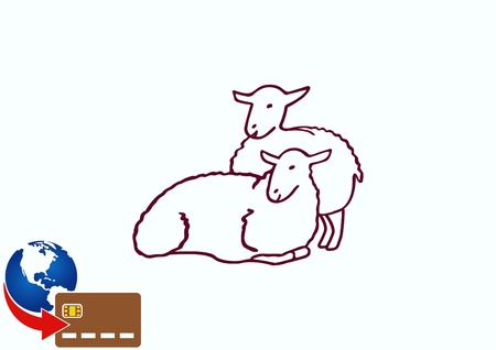 Vector illustration of a sheep. Flock of sheep. sheep