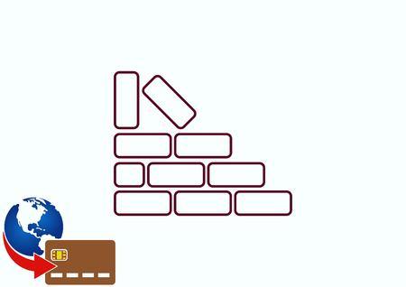 Bricks (brickwork, masonry), icon Illustration