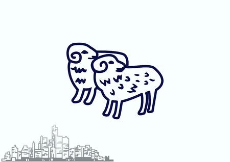 Vector illustration of a sheep. Flock of sheep. sheep logo. Illustration